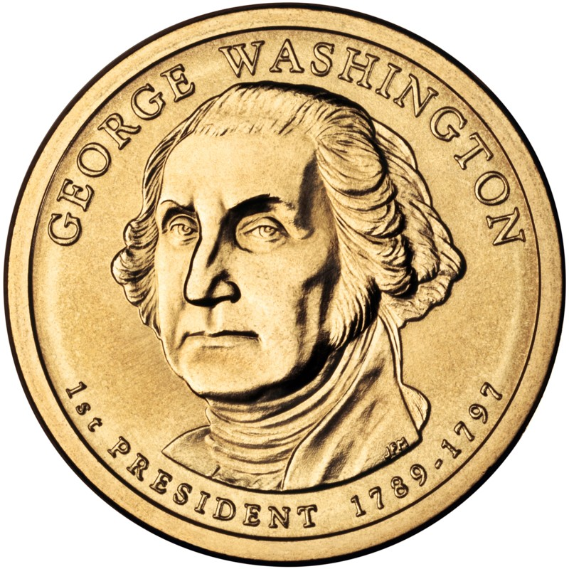 2007 presidential dollar coin george washington uncirculated obverse small size