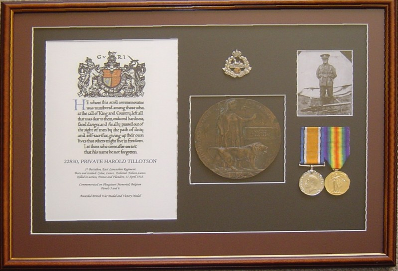Frame WWI with plaque and certificate - Waplington.jpg