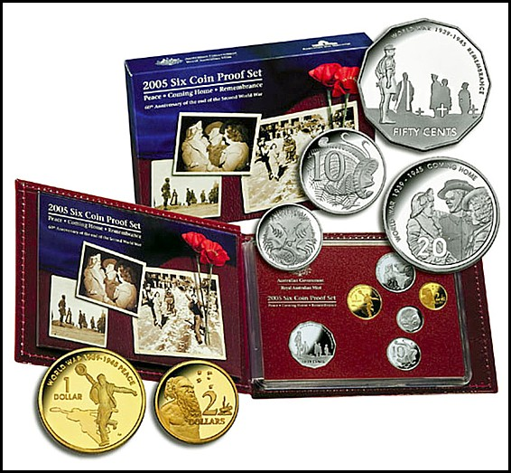 2005 Royal Australian Mint Proof Set 60th Anniversary of the End of WWII